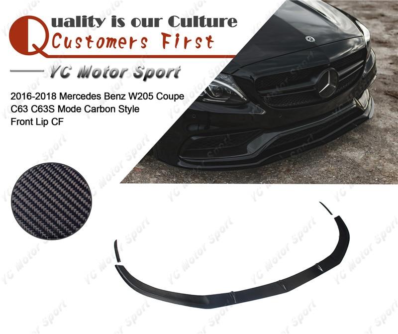 Car Accessories Carbon Fiber Front Lip with Spats Fit For 2016-2018 MB W205 Coupe C63 C63S MC Style Front Lip Kit 3pcs