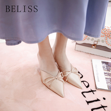 купить BELISS summer women shoes med heels slip on sexy party women slippers pointed toe ladies slippers slides mules silk satin S21 по цене 2275.55 рублей