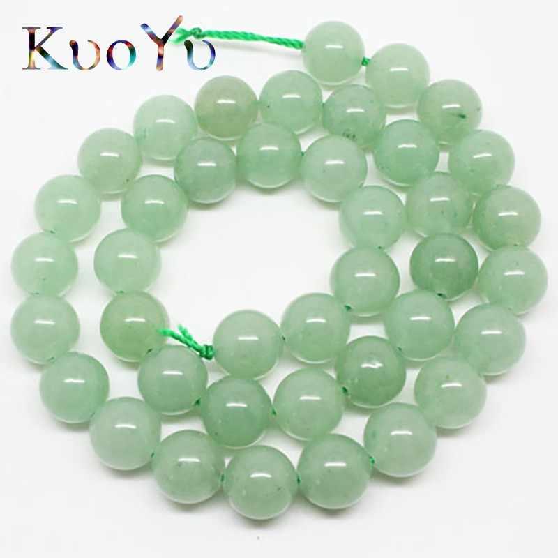 """ขายส่งธรรมชาติสีเขียว Aventurine Jades รอบหลวมหินลูกปัดสำหรับเครื่องประดับ 15.5 """"4/6/8/ 10/12 มิลลิเมตร DIY สร้อยข้อมือสร้อยคอ"""