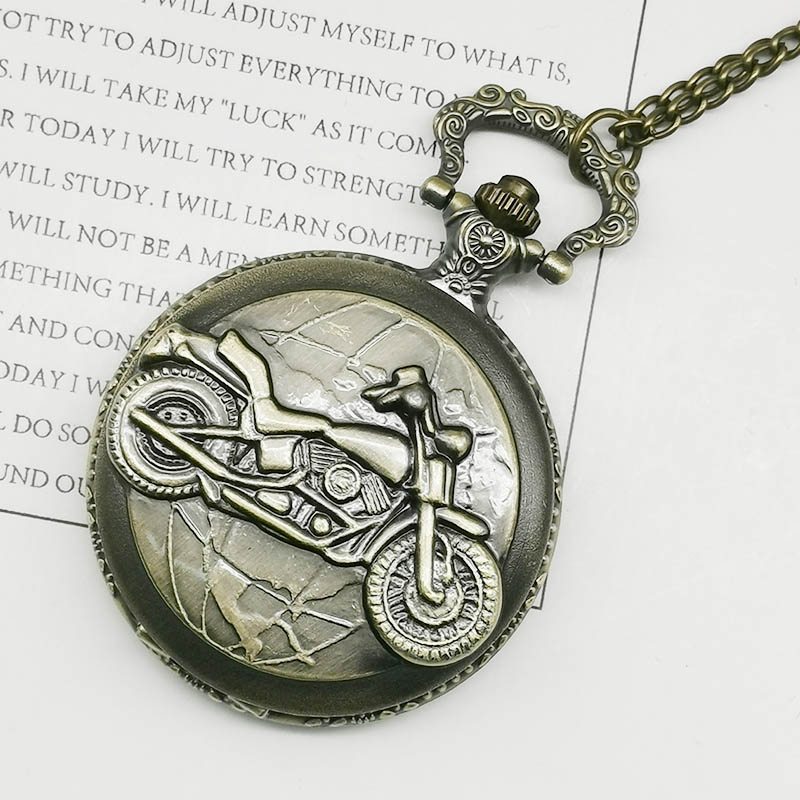 Bronze Motorcycle Pocket Watch Necklace Pendant Chain Vintage Motorbike MOTO Quartz Pocket Watch Unisex Gifts Relogio De Bolso