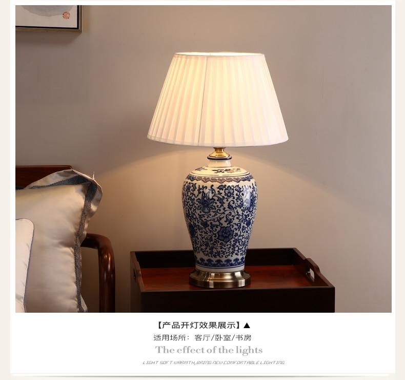 Затемнения синий и белый фарфор Настольные лампы Китай цветок cemaric лампа для чтения дома Спальня Гостиная прикроватная тумбочка свет