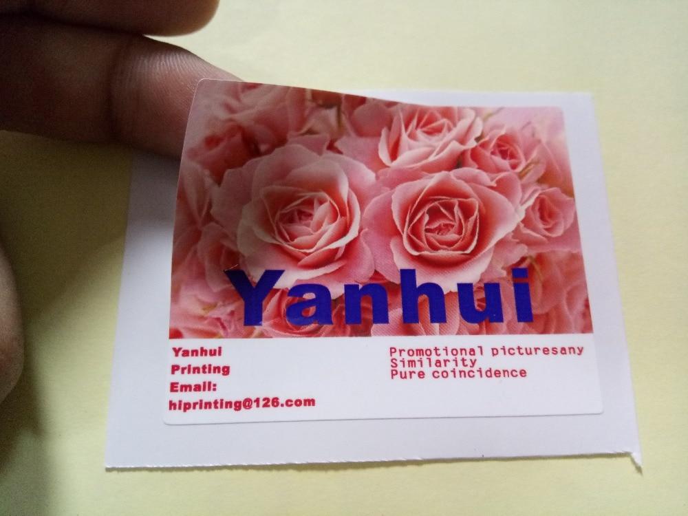 4x4 white vinyl sticker printing custom glossy film laminated