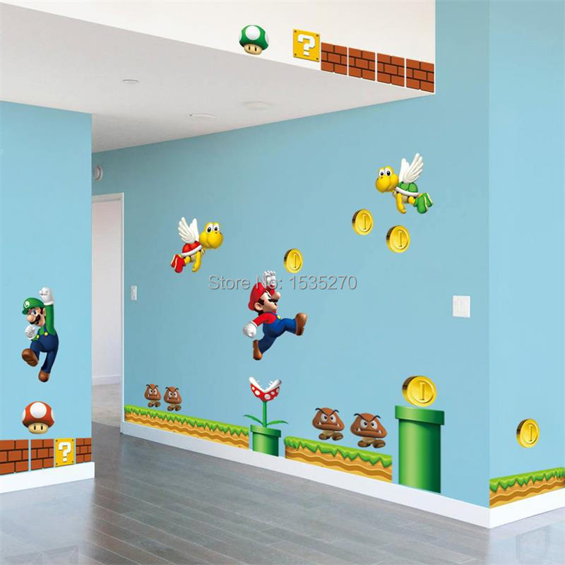 Vinyl removable wall sticker decal home decors giant big super mario bros kids removable wall - Super mario giant wall decals ...