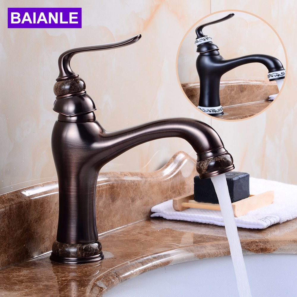 Deck Mounted Basin Sink Faucet Vintage Style Tap Black Bathroom faucets Brass finish washbasin taps Hot and cold water цена