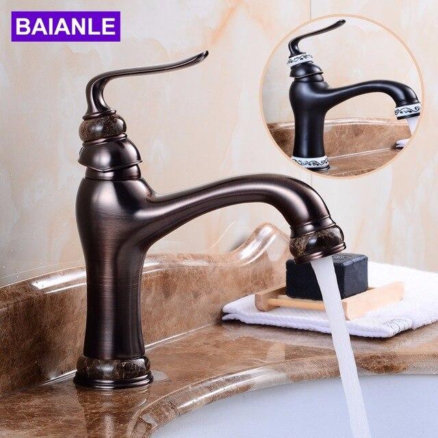 Deck Mounted Basin Sink Faucet Vintage Style Tap Black Bathroom ...