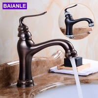 Deck Mounted Basin Sink Faucet Vintage Style Tap Black Bathroom faucets Brass finish washbasin taps Hot and cold water