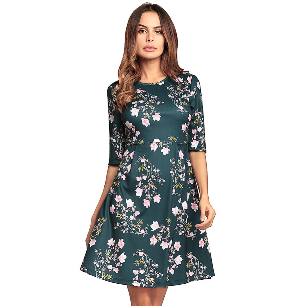 2019 <font><b>Spring</b></font> summer New <font><b>Women's</b></font> <font><b>Sleeve</b></font> High Waist A-Line Print Fashion Casual <font><b>Sexy</b></font> Home classical beach <font><b>Dress</b></font> high quality image