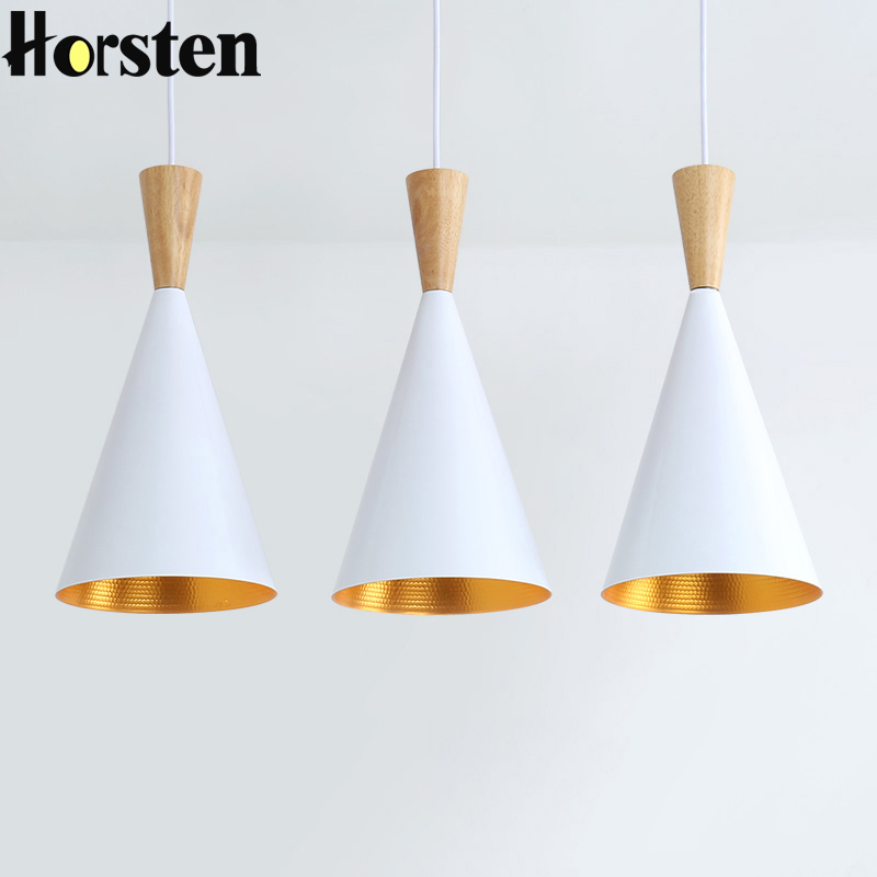 Horsten Modern Nordic Simple Pendant Light Wood Hanging Lamp For Restaurant Bar Cafe Dining Room Aluminum Pendant Lamp E27