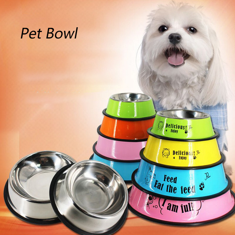Stainless Steel Pet Bowl Travel Feeding Feeder Water Bowl For Dog Cat Anti-skid Dry Food Cat Bowl Drinking Water Dog Dish