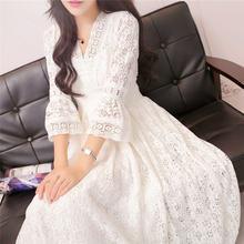 Женское длинное кружевное платье с v образным вырезом и рукавом