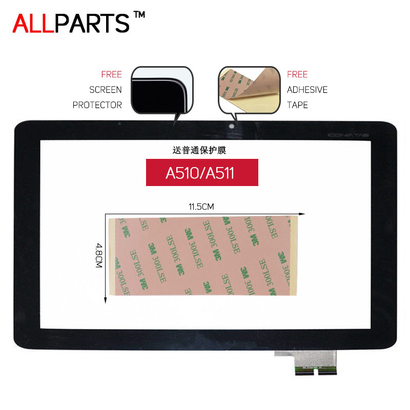 TESTED 10.1 inch Black Touch screen For ACER iConia Tab A510 A511 A700 A701 Touch Screen Digitizer Free Adhesive & Protector