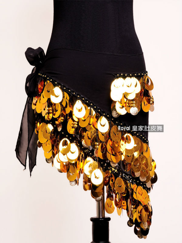 Hot Sale Striking Belly Dance Hip Scarf Big Embroidery Sequins And Shining Coins -9702