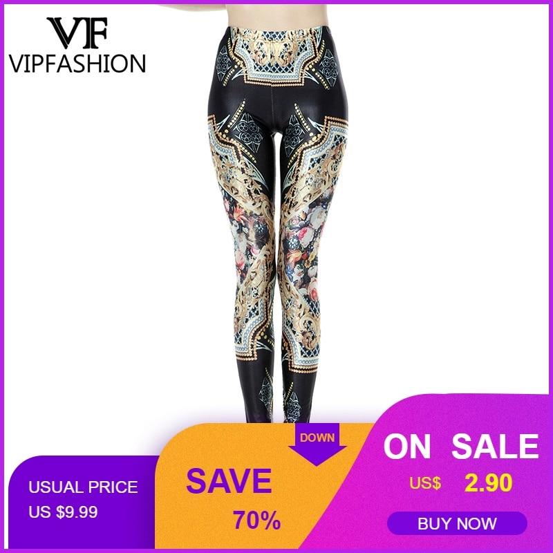 VIP FASHION Women Bohemia Leggings Cartoon Printed Leggins high Stretch Girls Legging Punk Rock Leggin Disco Pants leggings