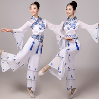 Chinese Folk Style Yangko Dance Costumes Classical Drum Fan Clothing
