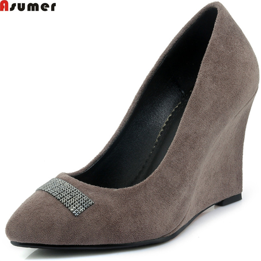 ASUMER 2018 spring autumn new women pumps pointed toe ladies shoes shallow wedges shoes flock crystal high heels shoes plus size 34 49 new spring summer women wedges shoes pointed toe work shoes women pumps high heels ladies casual dress pumps