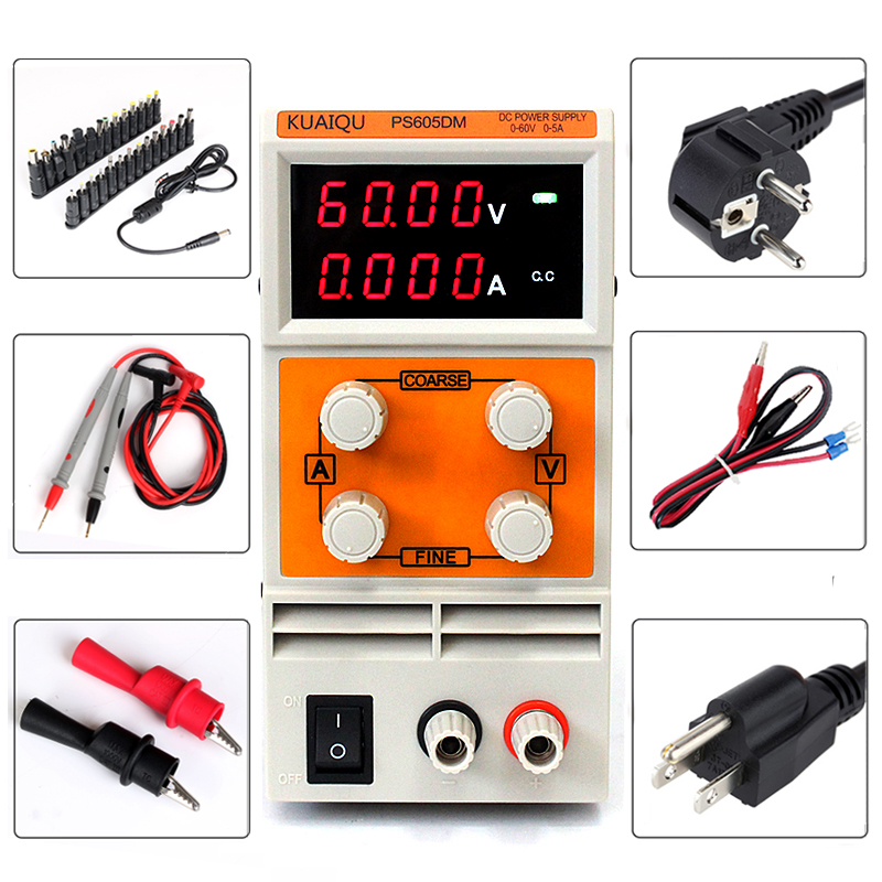 0.1V 0.01A mA Display PS605DM 60V 5A 110V-230V Switch DC power supply Single Channel Digital Adjustable Switch DC Power Supply rps6005c 2 dc power supply 4 digital display high precision dc voltage supply 60v 5a linear power supply maintenance