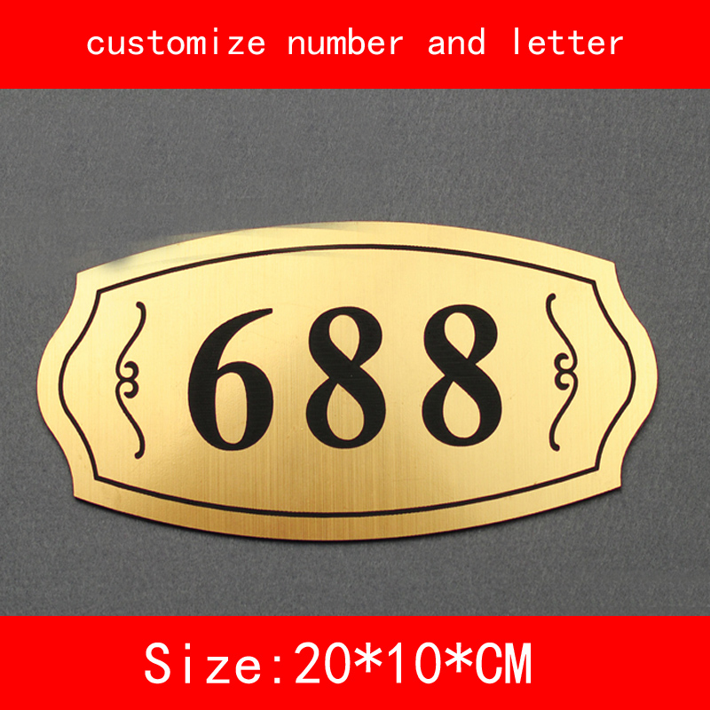 size 20*10cm Number of House Room Gate gold brushed not fade Customized number letter Door Plate Apartment Hotel