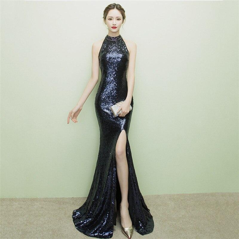 Diamant bleu paillettes licou sans manches élégant moulante fête Cocktail tenue de club femmes de luxe robe Sexy dames robes formelles