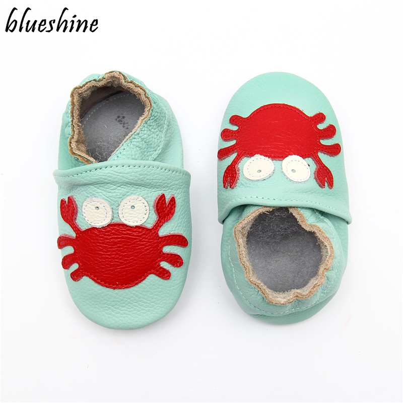 Cartoon Crab Skid-Proof First Walkers Soft Leather Baby Boys Girls Infant Slippers Moccasins 0-6 6-12 12-18 18-24M Baby Shoes