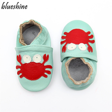 Cartoon Crab Skid-Proof First Walkers Soft Leather Baby Boys Girls Infant Slippe