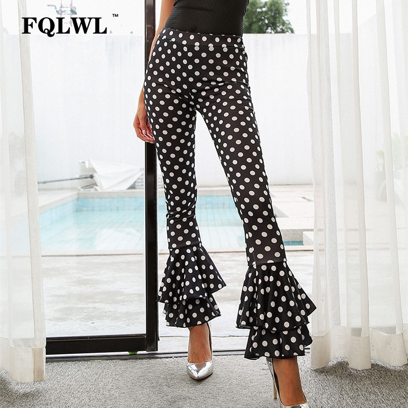 FQLWL Ruffles Print Polka Dot   Pants   Elastic High Waist Flared   Wide     Leg     Pants   Women New Summer Streetwear Trousers Pantalon Femme