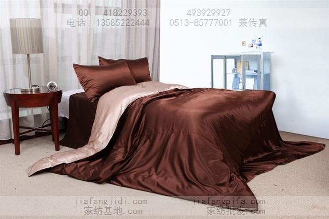 Beige brown solid silk satin bedding set king size queen duvet quilt cover bed in a bag sheet bedspread bedroom linen bedclothes