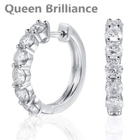 Queen Brilliance 1 8ctw Lab Grown Moissanite Diamond Drop Earring Platinum Plated 925 Sterling Silver Earring