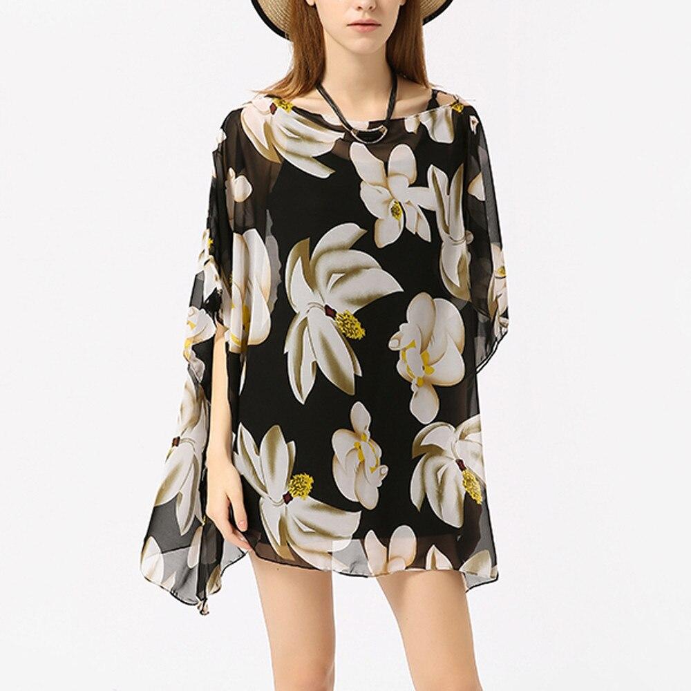 2019 Women Boho Chiffon Thin Sunscreen Print Beach Bikini Blouse Cover Head Swimsuit Blusas Femininas Womens Tops And Blouses