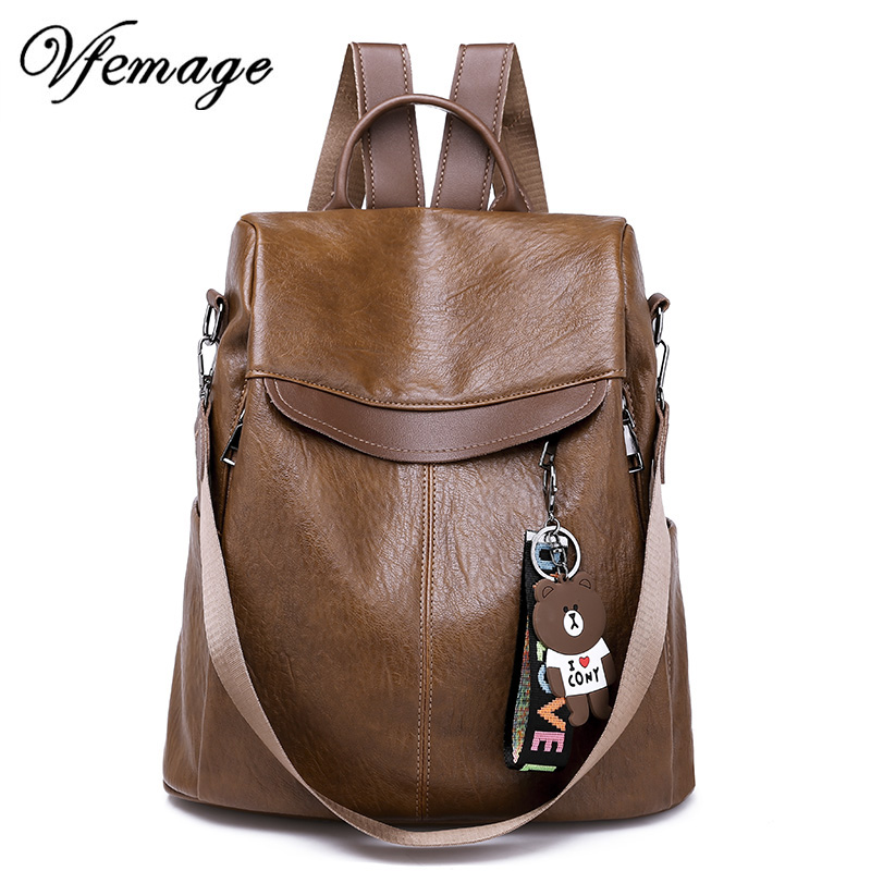Vfemage Antitheft Backpack Women Leather Bagpack Female Multifunction Backpack Girls Schoolbag 2019 Travel Bag Sac A Dos Mochila