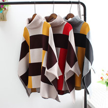 women sweater winter clothes Womens bat sleeve coat 2019 autumn and new womens cloak shawl plaid