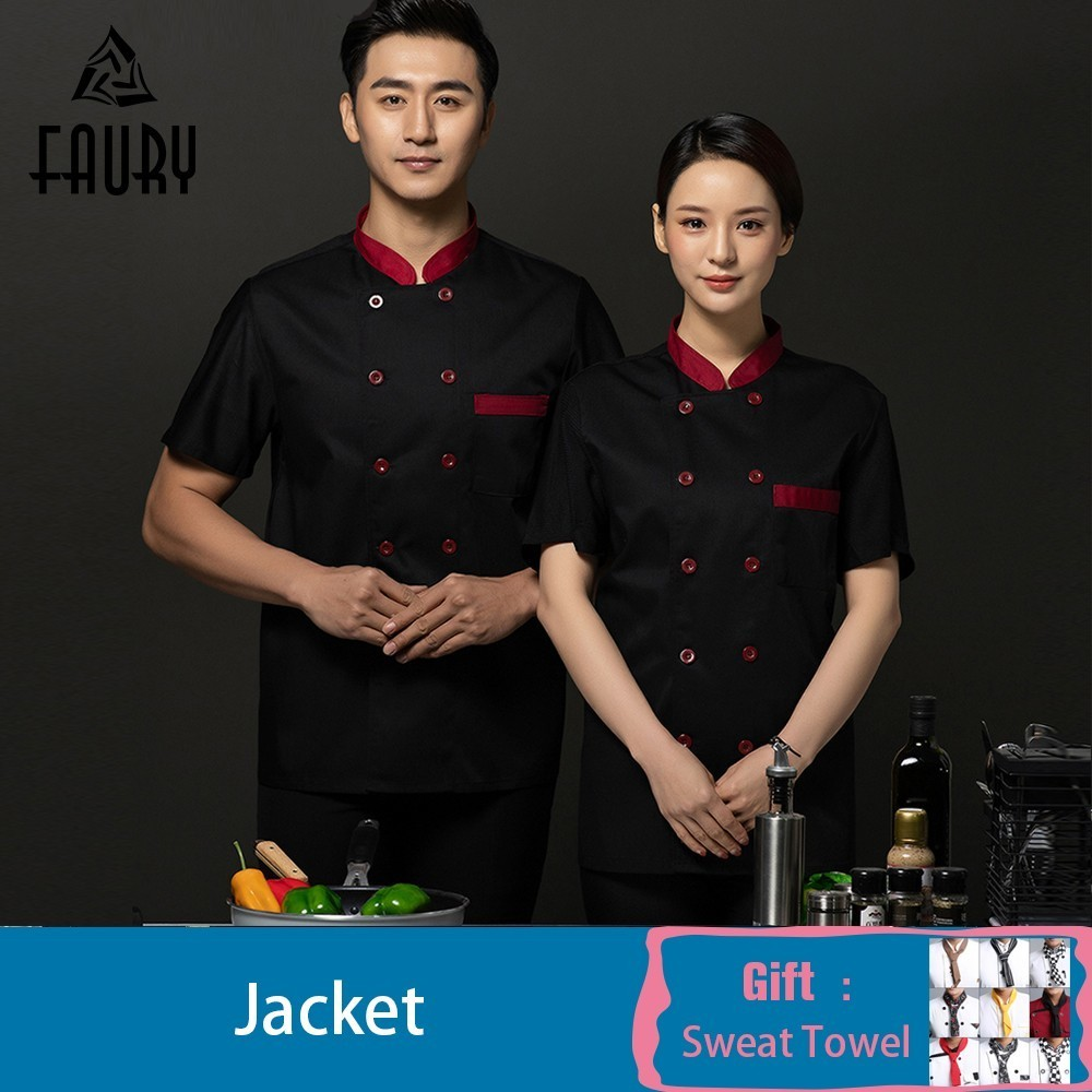 2019 Chef Jacket Breathable Mesh Short Sleeve Restaurant Cook Jacket Waiter Waitress Uniform Cafe Bakery Cook Shirt Wholesale