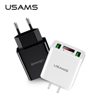 Telefoon Oplader Met LED Display, USAMS Dual USB Charger Max 2.2A Uitgang EU/ONS Lader voor iPhone X Samsung Xiaomi charger