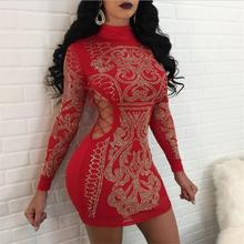 Women Dress Long Sleeve Autumn Winter Bodycon Bandage Women Mini Dress Slim Package Hip  Round Neck Nightclub Sexy Print Dress round neck long sleeve bodycon dress