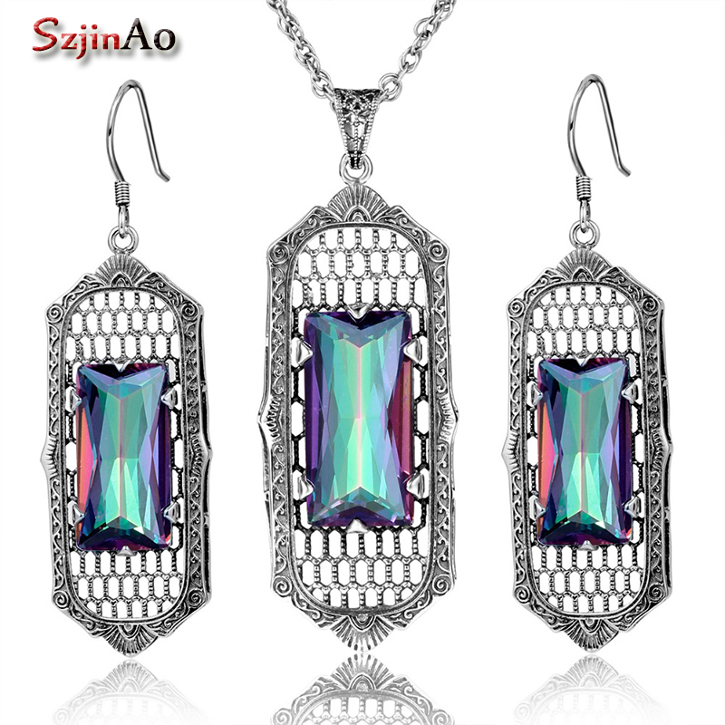 цена на Szjinao Silver 925 Jewelry Square Design Rainbow Topaz Earrings Necklace Women Dresses Turkish Jewelry Vintage Wholesale