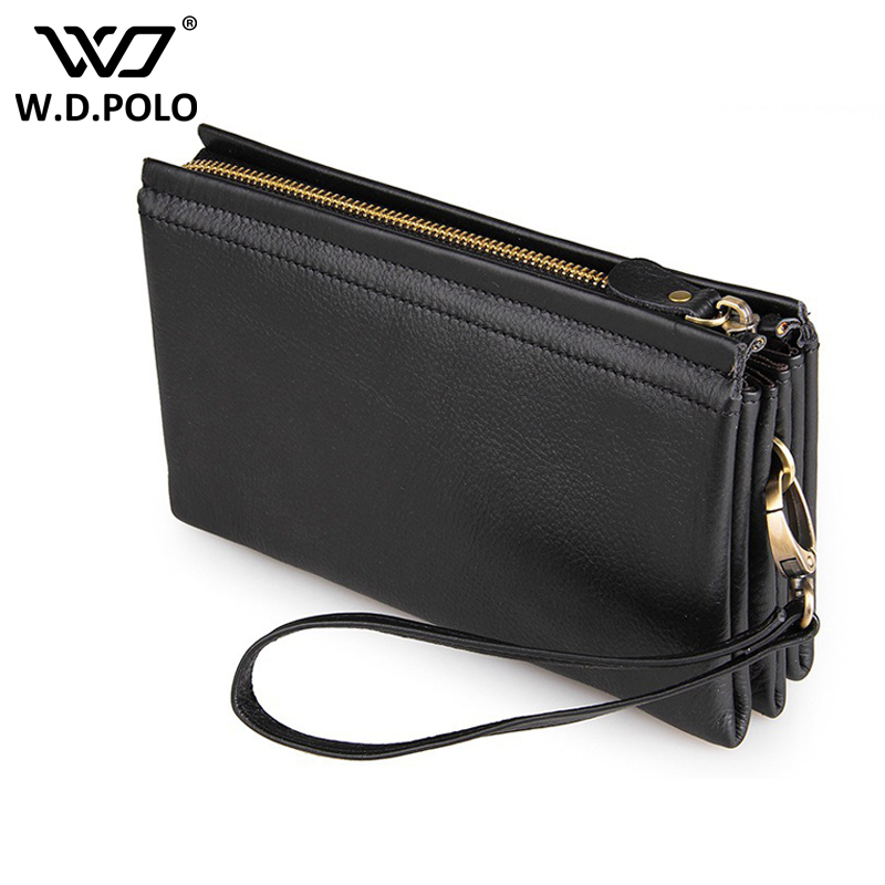 WDPOLO Large Capacity Genuine Leather Man Wallet chic Men Wallets Male Clutch Wallet card holder bags male purse C306 banlosen brand men wallets double zipper vintage genuine leather clutch wallets male purses large capacity men s wallet