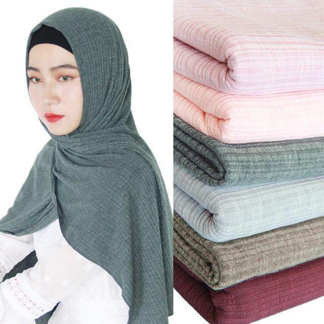 חדש נשים מודאלי כותנה קמטים עיצוב צעיפים מוסלמי חיג אב מוצק צבע מלזיה ג רזי חיג אב ארוך מגבת צעיף רך מטפחת