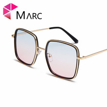 MARC Women 2019 Trend Sunglasses Square Gradient Brown Purple Fashion Female Wrap Gafas sol de Vintage 1