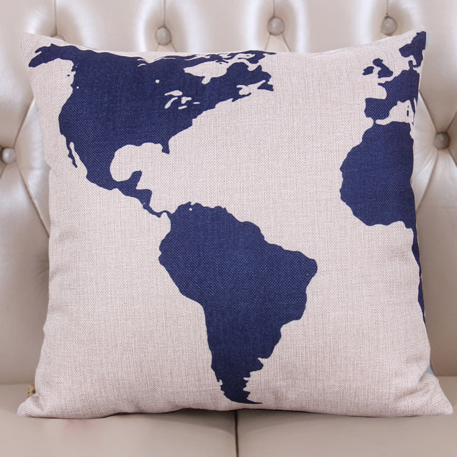 1Pcs/lot cushion cover Europe and the United States nostalgic map sailing series pillowcase for home or car decoration