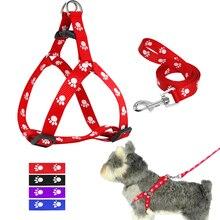 Нейлоновый Поводок для собак и поводок, регулируемый собачий поводок с принтом лапы, поводок для прогулок, ремень для маленьких и средних собак, S/M/L