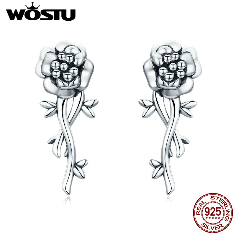 WOSTU 2019 Spring New 100% 925 Sterling Silver Vintage Flower Stud Earrings for Women Fashion Brand Silver Jewelry Gift CQE336WOSTU 2019 Spring New 100% 925 Sterling Silver Vintage Flower Stud Earrings for Women Fashion Brand Silver Jewelry Gift CQE336