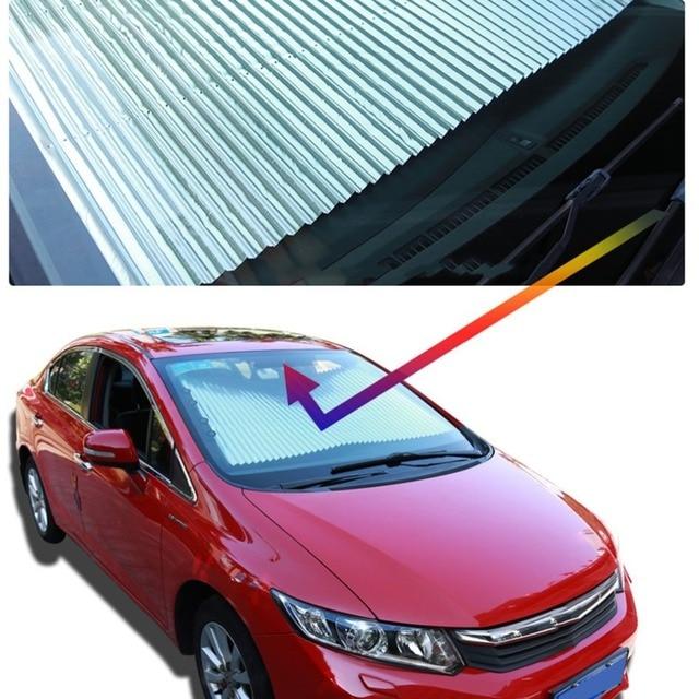 Retractable Car Windshield Sunshade Sun Insulation Curtain UV Protection Sun Shade Cover Adjustable Insulation Shade 2