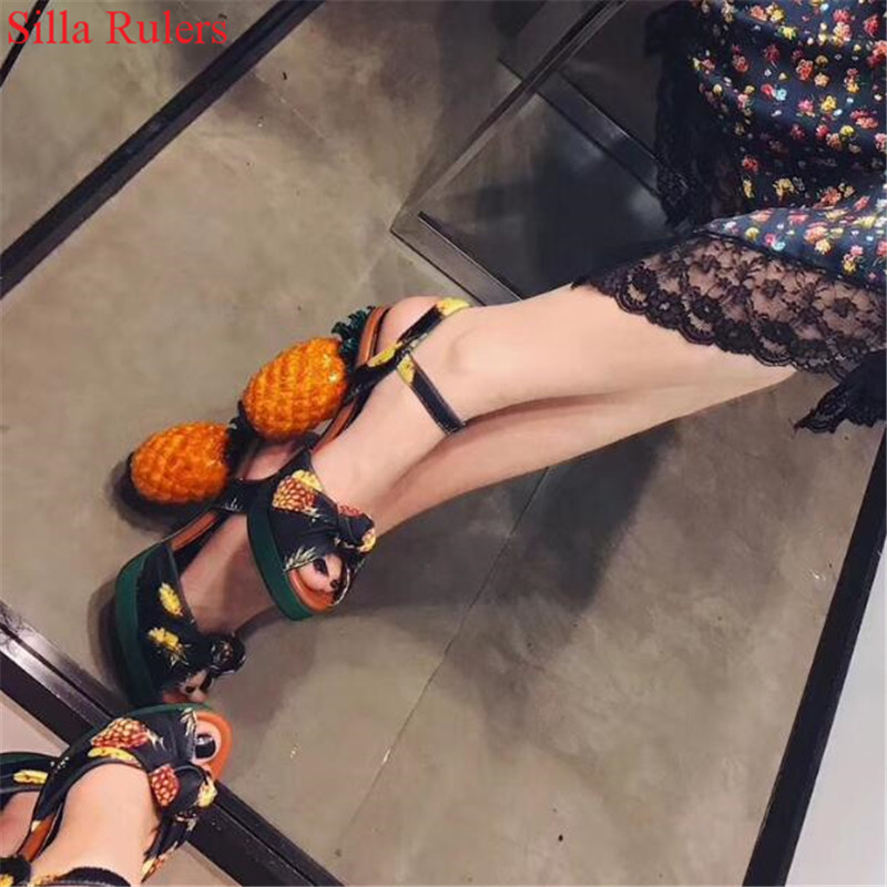 Sexy Style Pineapple High Heels Gladiator Sandals Women Shoes Butterfly Knot Women Sandals Wedding Shoes Woman Sandalias Mujer