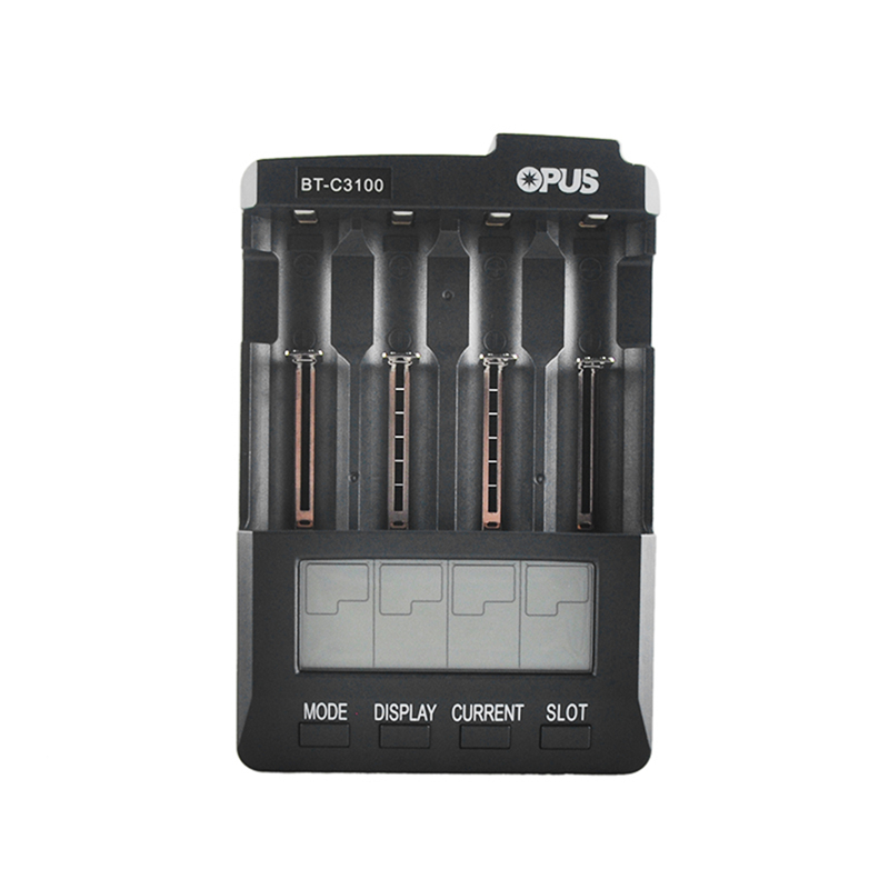 Original Opus BT-C3100 Battery Charger 4 Slots Digital LCD LI-ion NiCd NiMh AA AAA 26650 14500 16340 17335 17500 18490 18650 new 8pcs 1 5v aa lithium polymer rechargeable battery 3000mwh 4 slots usb charger 2a li ion cell replace ni mh type battery