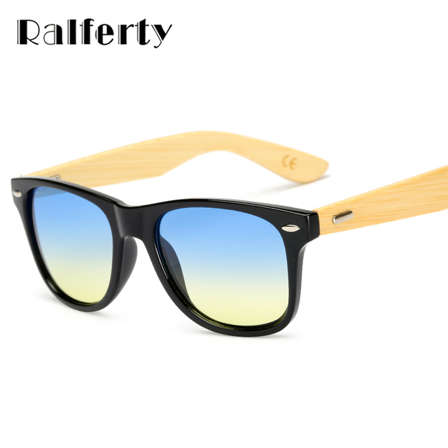Ralferty Vintage Ladies Bamboo Sunglasses Women Transparent Gradient UV400 Sun Glasses Male Candy Colored Eyewear Shades 1501
