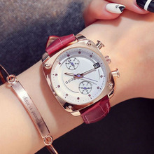 Fashion Luxury Wrist watch Top Brand GUOU Women's Watches Waterproof Leather Strap Square Watch Women Watches relogio feminino