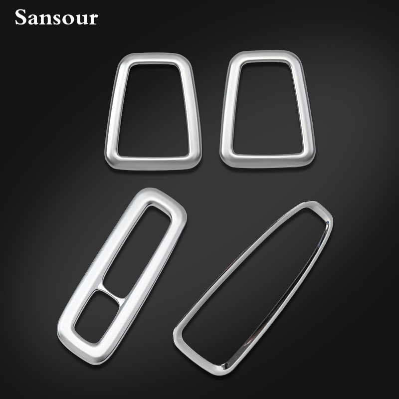 Sansour Interior For Volvo XC90 2016 ABS Stainless Steel Gear Shifter Box Decoration Molding Trim 1 Pcs