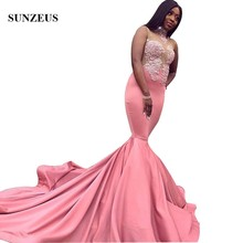 Sunzeus Appliques Illusion Prom Dresses Sexy Bodice Mermaid