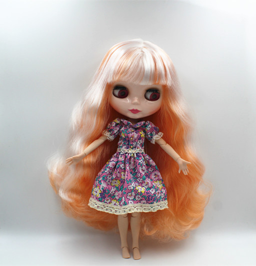 Blyth doll White and orange, double color, curly hair, naked doll, 19 joints, gift toys, you can change your hair. naked and famous naked and famous in rolling waves 2 lp