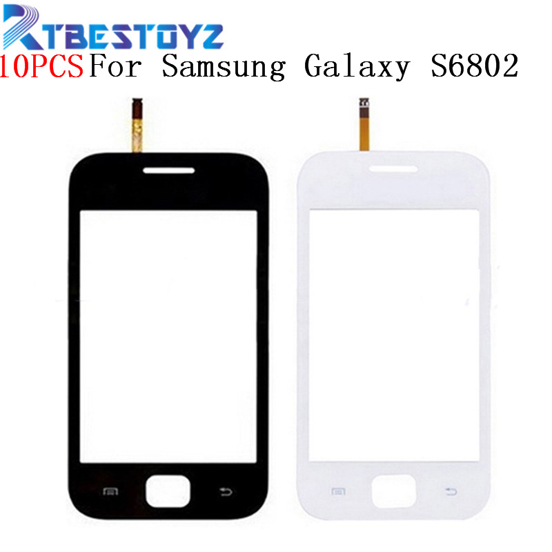 RTBESTOYZ 10PCS Touch Screen Digitizer Sensor Front Glass Lens Black and White For Samsung Galaxy Ace DUOS GT S6802 S6802