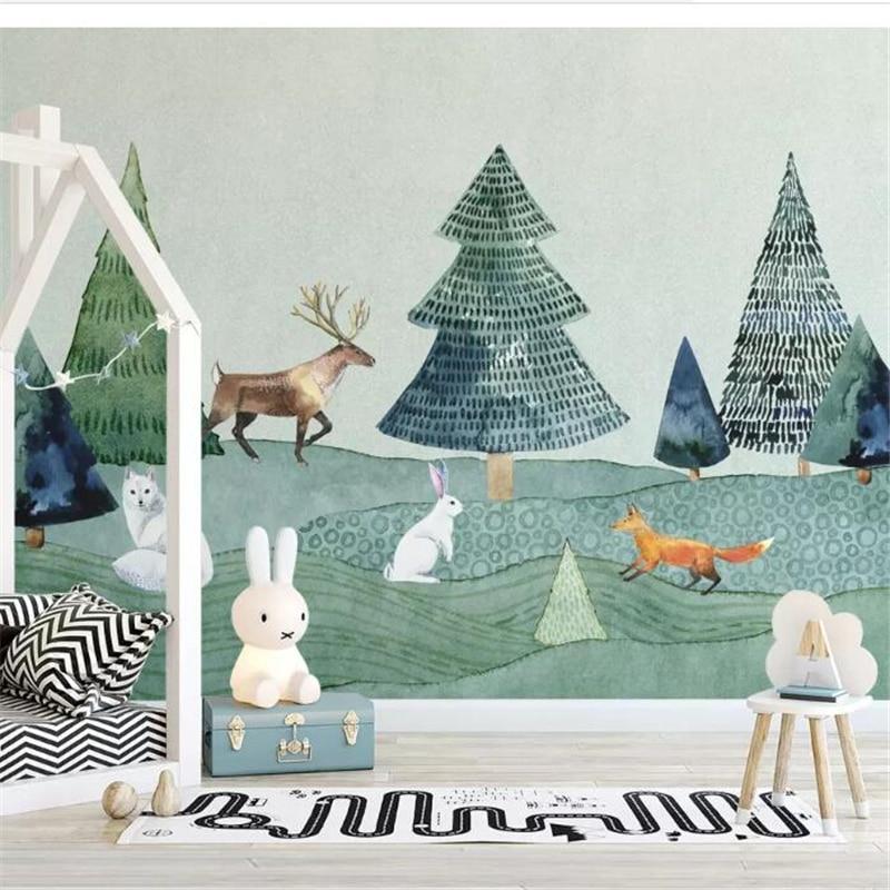 Wellyu  Custom Wallpaper Nordic Minimalist Hand-drawn Elk Forest Animal Children Room Background Wall Paper Papel De Parede